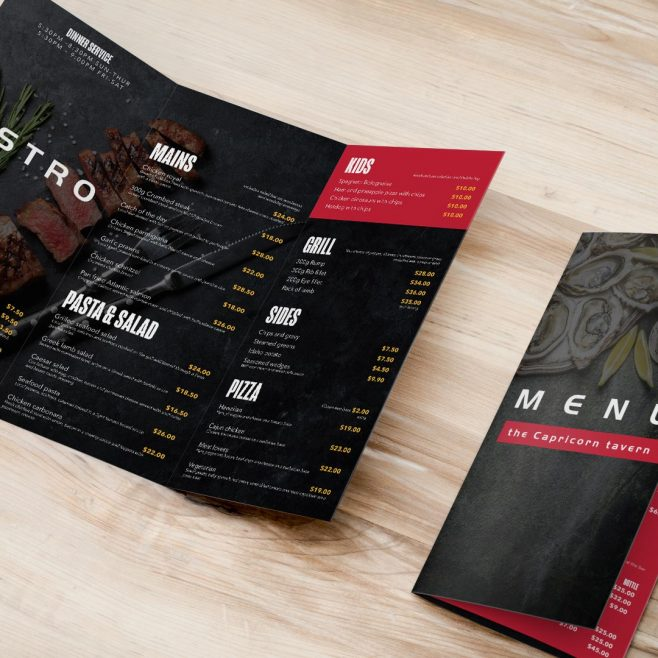 Capricorn Tavern Yeppoon, Restaurant menu design | FMSTUDIOS