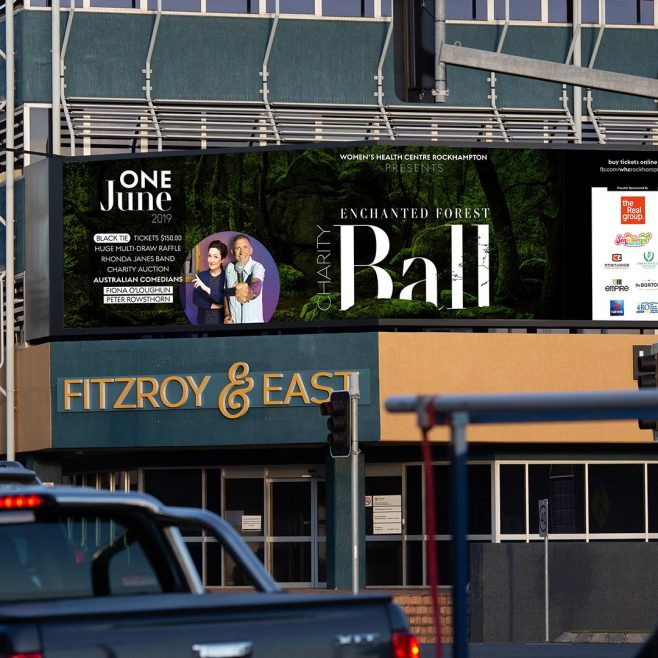 Women's Health Center Charity Ball Rockhampton, digital billboard, social media, animated advertising Digital and Social Media | FMSTUDIOS