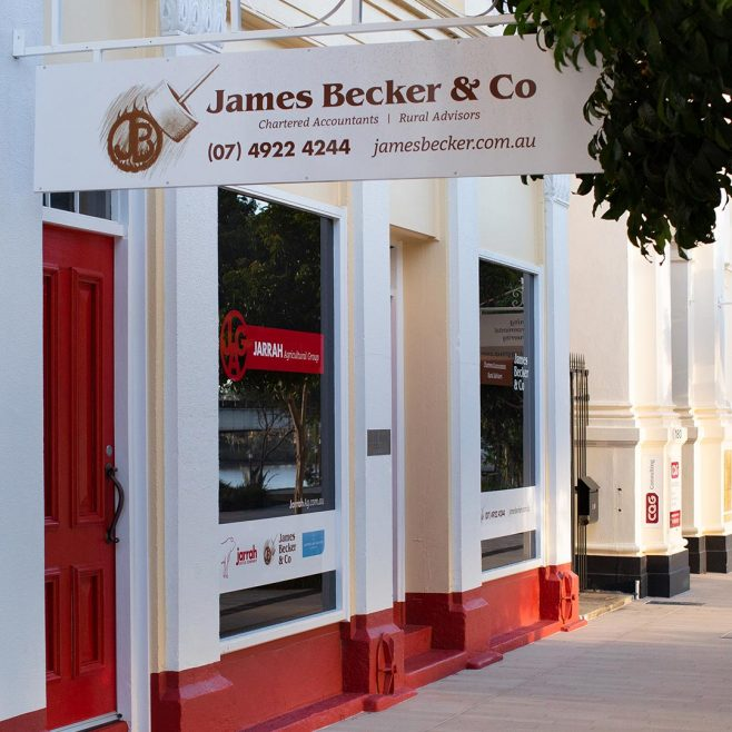 James Becker & Co Rockhampton, business window signage design Signage Design | FMSTUDIOS
