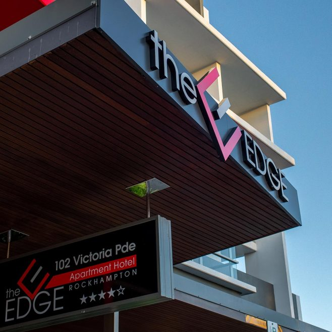The Edge Apartment Hotel Rockhampton, building signage design Signage Design | FMSTUDIOS
