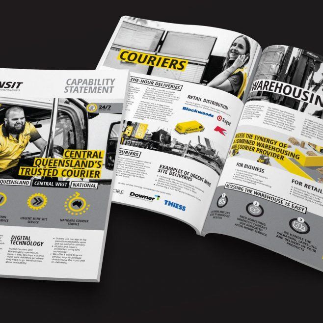 Transit Couriers & Warehousing North Rockhampton, Capability statement brochure design | FMSTUDIOS