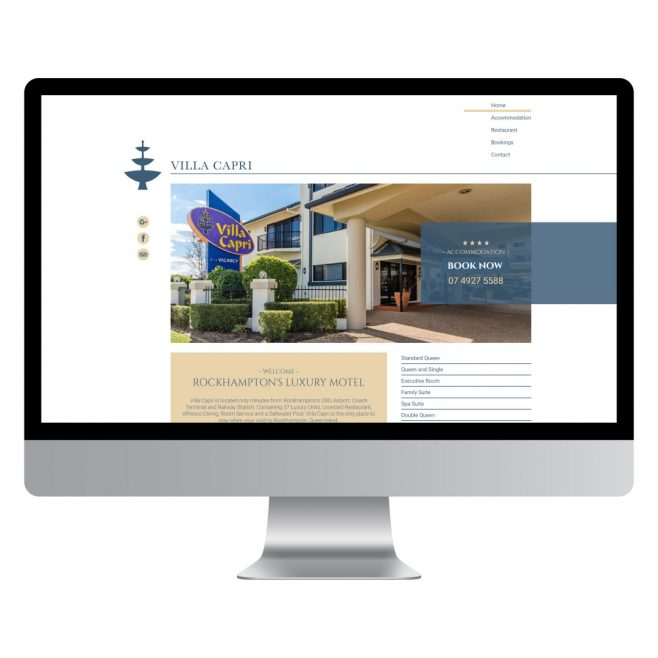 Villa Capri Rockhampton, website design | FMSTUDIOS