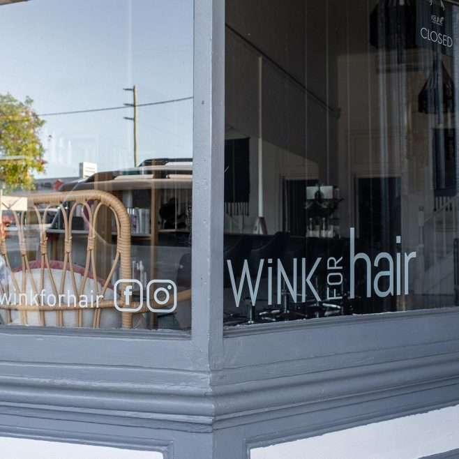 WiNK for Hair Rockhampton, window decal design Signage Design | FMSTUDIOS
