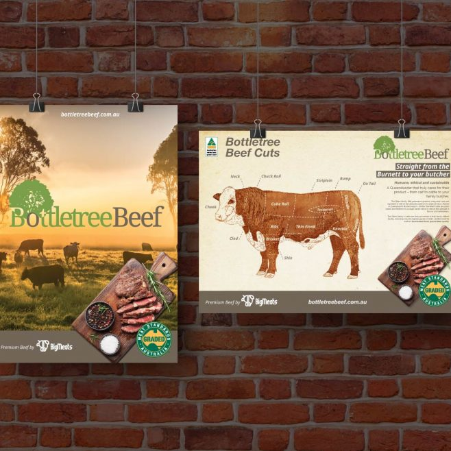 Bottletree Beef Burnett Region, poster design and beef cuts illustration | FMSTUDIOS