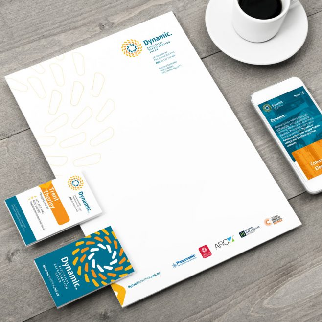 Dynamic Electrical Rockhampton, stationery, letterhead, and business card design | FMSTUDIOS