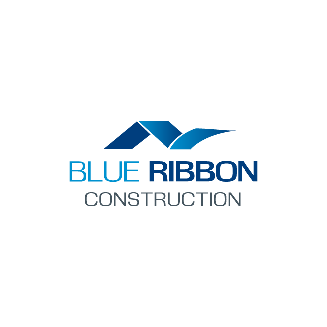 Blue Ribbon Construction Logo Design | FMSTUDIOS
