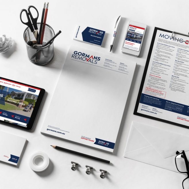 Gormans Removals Rockhampton and Brisbane, letterhead, brochure, form, businsess card, packaging, carton and website design | FMSTUDIOS