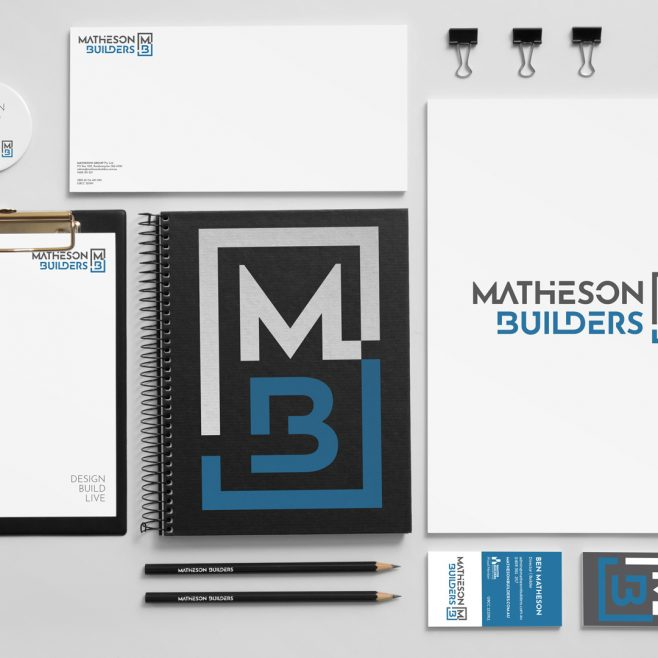 Matheson Builders Rockhampton, stationery, letterhead, business card and folder design | FMSTUDIOS
